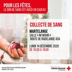 Collecte de sang ce lundi 14 décembre à la salle Im Wohr, 16h à 19h