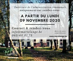 A partir de ce lundi 09 novembre 2020, l'administration communale sera ouverte sur rendez-vous uniquement