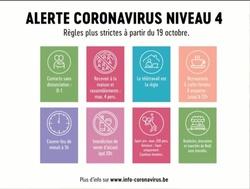 Niveau d'alerte 4 COVID-19 : des règles plus strictes à partir du lundi 19 octobre