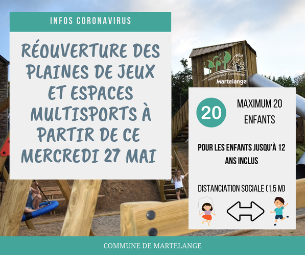 Réouverture des plaines de jeux et espaces multisports à partir de ce mercredi 27 mai