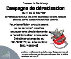 Campagne de dératisation gratuite le 11 et 12 février prochain