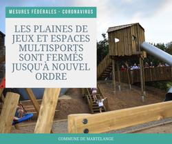 Coronavirus: les plaines de jeux et espaces multisports fermés