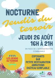 Evènement: Nocturne des jeudis du terroir le 26 août 2021 devant l'administration communale (exposants, bar, animations...)