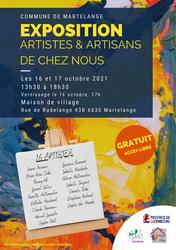 Exposition artistes & artisans de chez nous le 16 et 17 octobre à la Maison de village