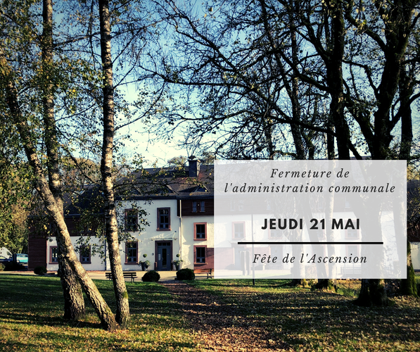 Fermeture des bureaux de l'administration communale ce jeudi 21 mai