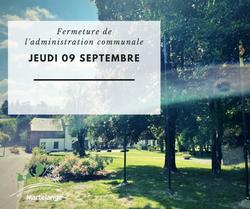 Fermeture exceptionnelle de l'administration communale ce jeudi 09 septembre 2021