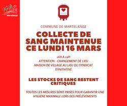 La collecte de sang maintenue ce lundi 16 mars, 16h à 19h, à la Maison de village