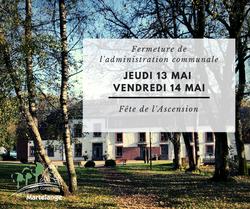 L'administration communale sera fermée ce jeudi 13 et vendredi 14 mai