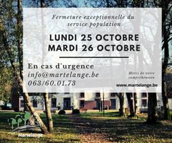 Le service population sera exceptionnellement fermé ce lundi 25 octobre et mardi 26 octobre