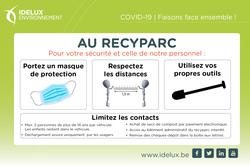 Les recyparcs restent ouverts. Respectez les mesures de sécurité COVID-19.