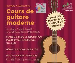 Nouveau - Des cours de guitare moderne à Martelange dès septembre