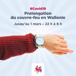 Prolongation du couvre-feu de 22h à 6h en Wallonie jusqu'au 01 mars 2021