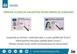 Pensez à vérifier la date de validité de votre permis de conduire (format carte bancaire)