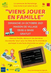 """""""Viens jouer en famille"""", le salon du jeu de Martelange, dimanche 24 octobre à la Maison de village"""