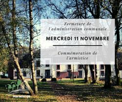 Fermeture des bureaux de l'administration communale ce mercredi 11 novembre
